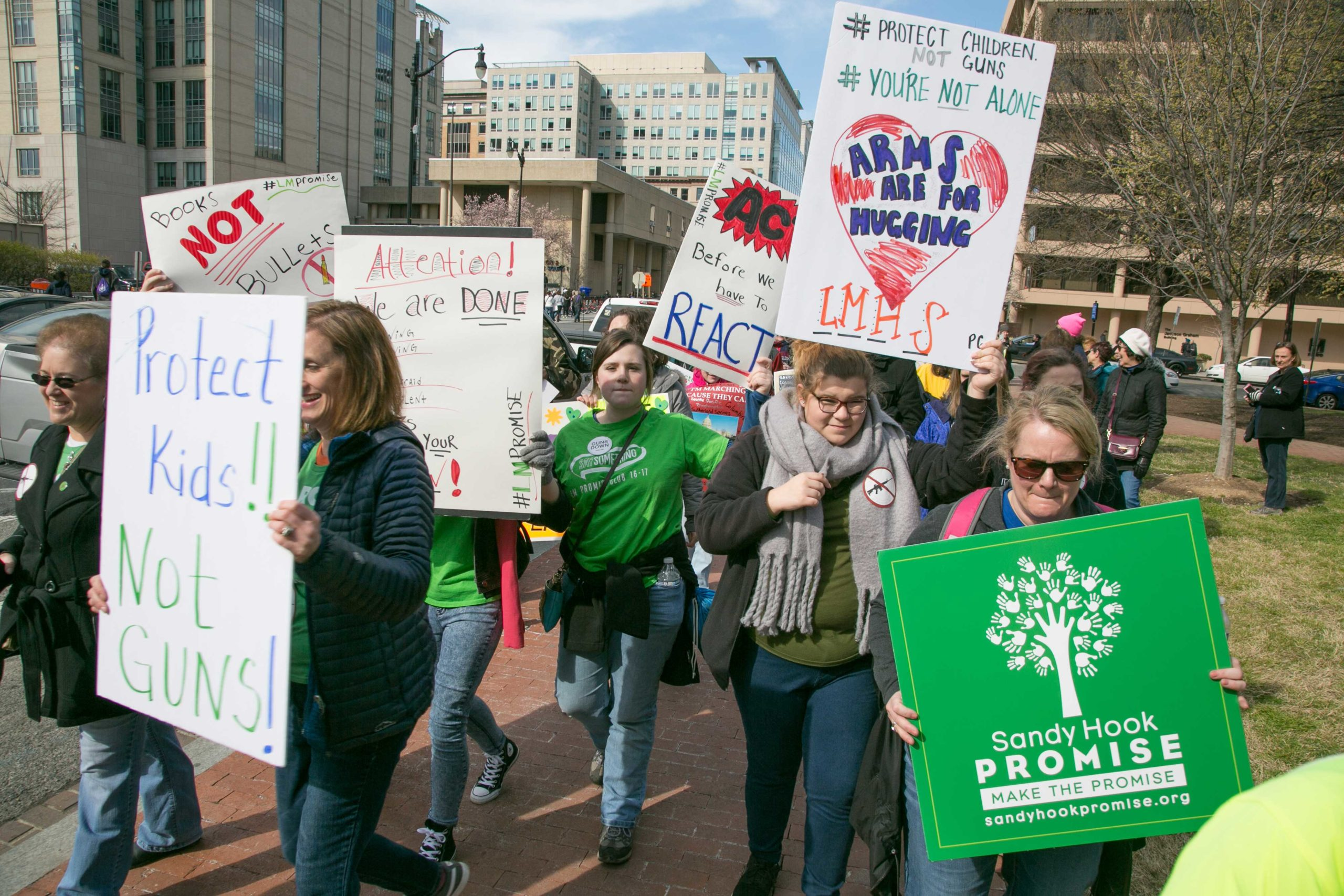 Volunteers and supporters with Sandy Hook Promise participate in the 2018 Marach For Our Lives in Washington, D.C.