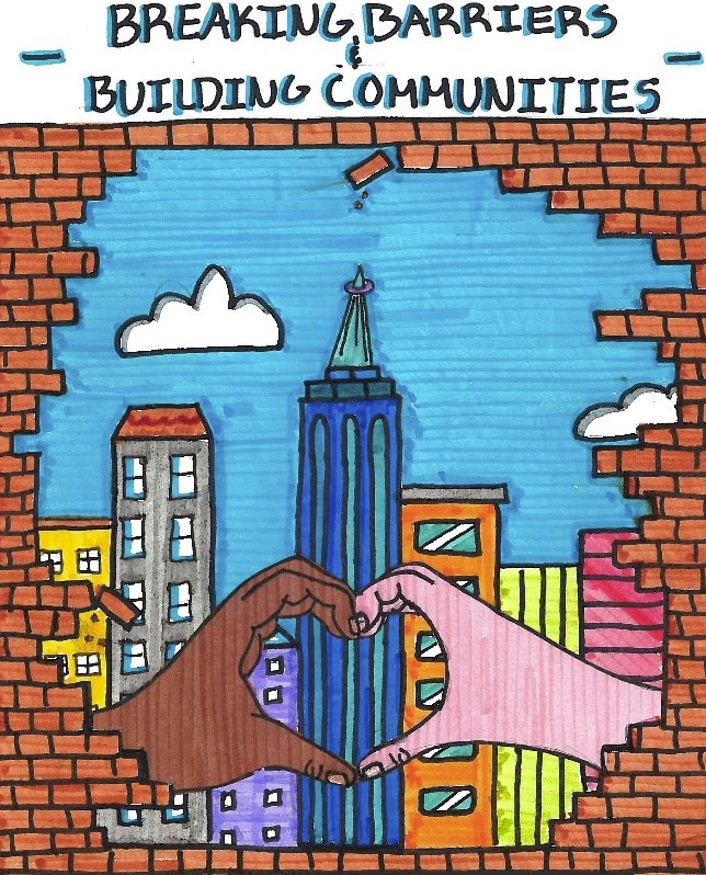 Breaking Barriers and Building Communities drawing, featuring a city scape and two children's hands, one brown one pink, in the shape of a heart.