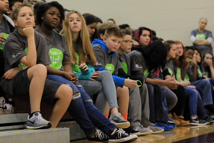 Students listen during an assembly that was held last as part of Start With Hello Week activities. Activities align with social emotional learning (SEL) and development.