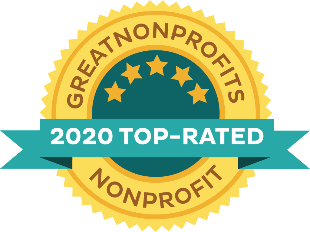 GreatNonprofits 2020 top-rated non profit award badge with five stars