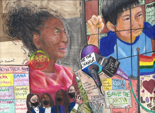 A Student Voices Award submission in the visual arts catagory, a painting of to two students with references to George Floyd, Emma Gonzalez and more.
