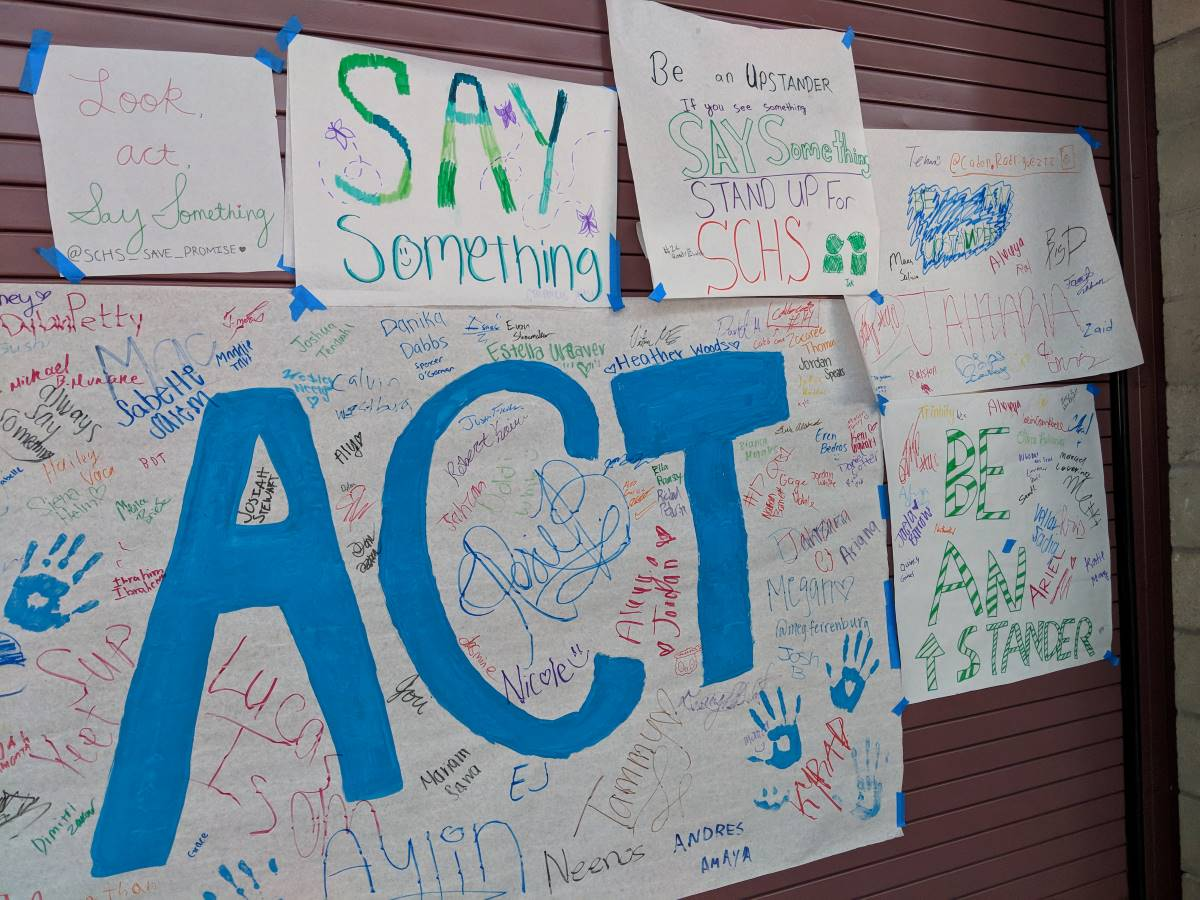 Posters created by students for Say Something Week encouraging their classmates to take action.