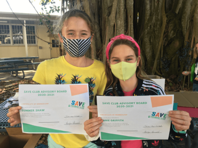 Lakeview Fundamental ES FL 2 SAVE Club Advisory Board members with certificates
